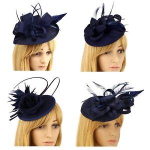 Navy Blue Nude Fascinator Hat Clip Headband Feather Wedding Ladies ... 3c392b01ab76