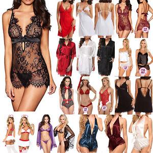 3aa8b1f95004 La imagen se está cargando Mujer-Sexy-Lenceria-camisa-de-dormir-encaje- babydoll-