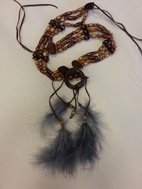 Kette für Kostüm Squaw Halskette Stirnband Indianerschmuck Indianer