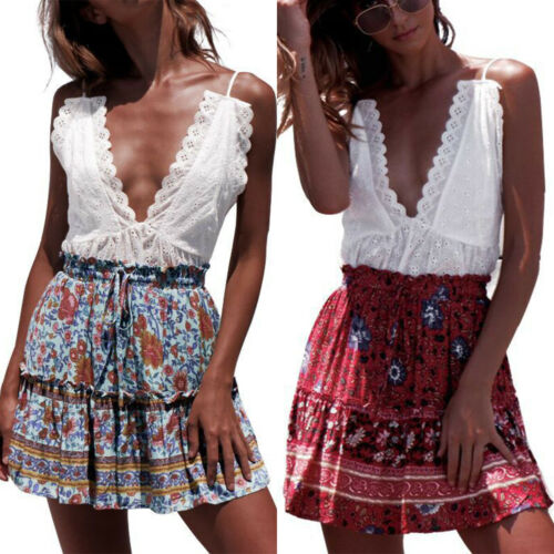 UK Boho Womens High Waisted Floral Ruffle Holiday Ladies Summer Mini Skirt Dress