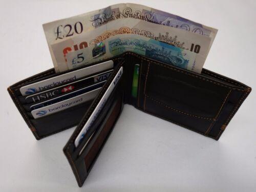 Pelle Di Pecora In pelle portafoglio con tasca monete e interni foderati in pelle marrone scuro