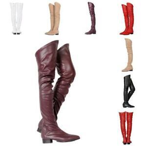 Women-Clubwear-Pointed-Toe-Low-Chunky-Block-Heel-Over-Knee-Boots-Shoes-Nightclub