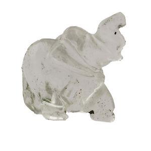Clear-Quartz-Stone-Carved-Small-Elephant-Statue-Reiki-Healing-Figurine-Gemstone