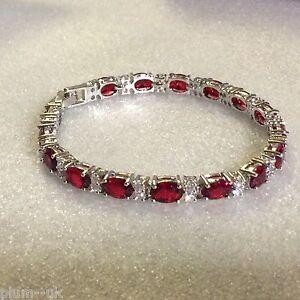 GB-Red-oval-garnet-amp-sim-diamond-7-034-180mm-white-gold-gf-bracelet-Plum-UK-BOXD