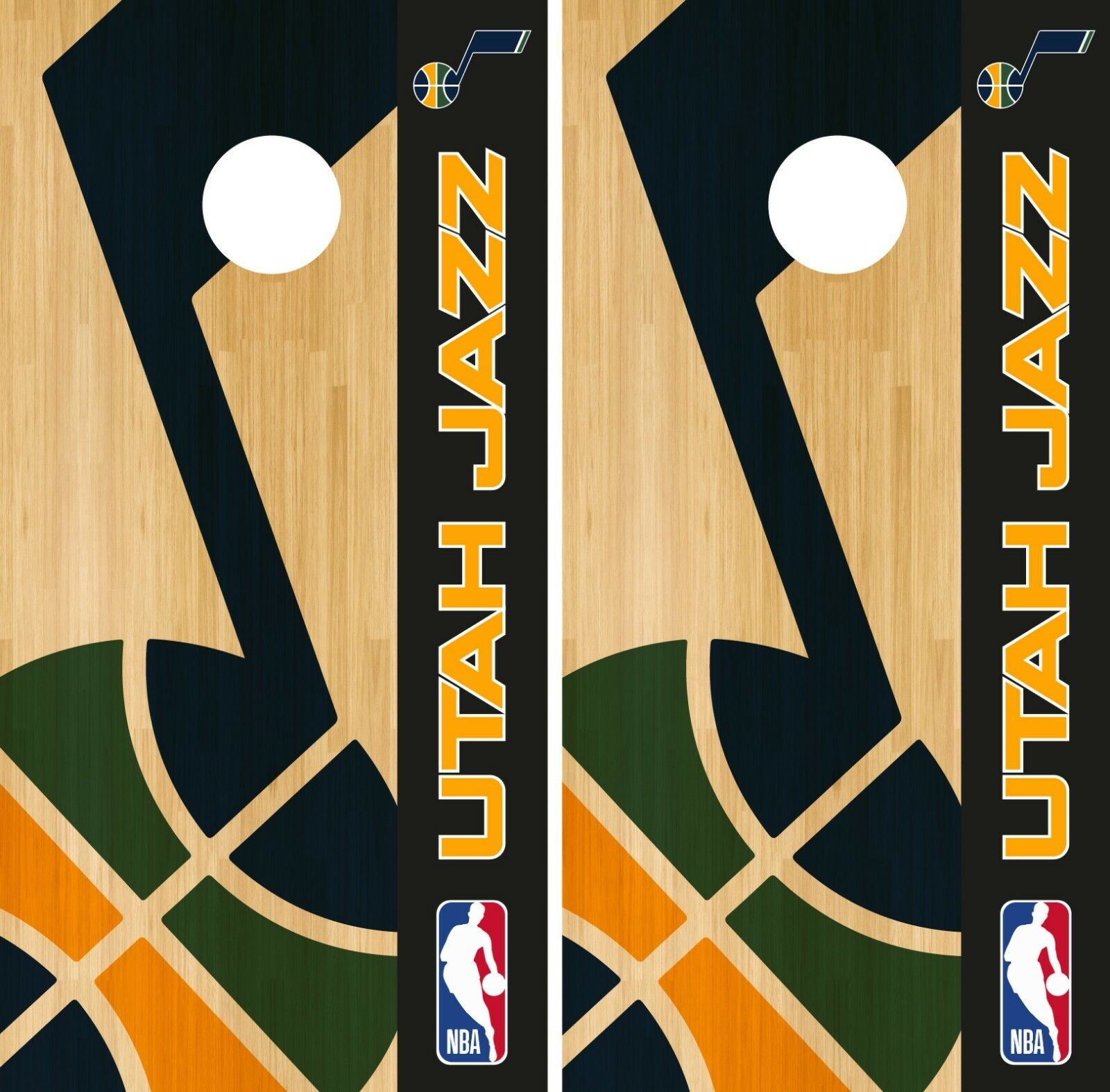 Utah Jazz Cornhole Wrap  NBA Game Skin Board Vinyl Decal Logo Set CO721  no minimum