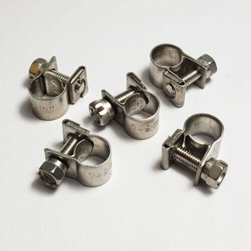 9mm Clamp Diesel Petrol Pipe Mini Fuel Line Stainless Steel Hose Clip 7mm