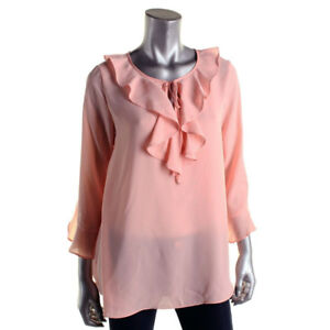 2f912aa0153 Details about Max Studio L Pink Blush Ruffled Chiffon Blouse Top NWT
