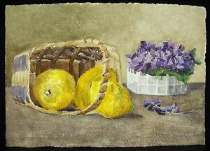 CompéTent M Pouray C1920 Aquarelle Originale Nature Morte Aux Citrons Et Violettes Lemons