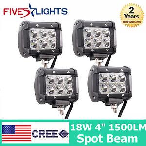 4X 4INCH 18W CREE LED WORK LIGHT BAR DRIVING SPOT BEAM ATV UTE JEEP CUBE PODS