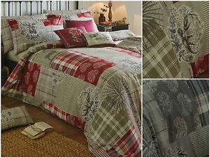 Patchwork-Tartan-Check-Quilt-Duvet-Cover-Bedding-Set-Christmas-Stag-Reversible
