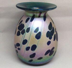Rick-Hunter-Oil-Spot-Iridescent-Blue-Teal-Purple-Glass-Vase-Signed-Dated-2003