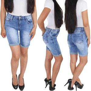 Damen-Shorts-Capri-Bermuda-Sommerhose-3-4-Jeans-Kurze-Hose-Stretch-Hueftjeans