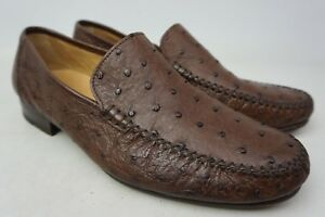 141f5f6b10 Image is loading Magnanni-Solea-Brown-Ostrich-Leather-Loafers-Men-039-