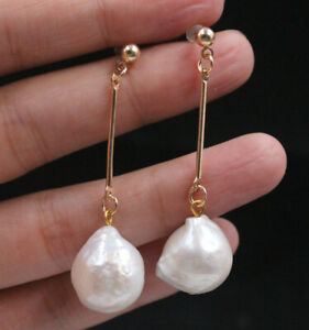 Huge 14x22mm South Sea White Baroque Pearl Gold plated Dangle Leverback Earrings