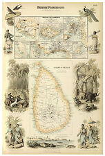 Ceylon Malacca Penang Singapore Malay Peninsula illustrated map Fullarton ca1872