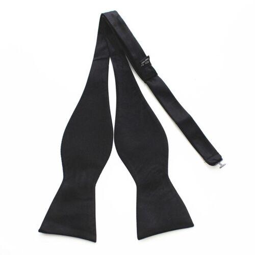Adjustable Men/'s Solid Color Plain Woven Silk Self Bow Tie Necktie Ties Hot