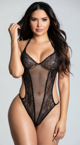 Womens Seductive Crotchless Teddy Mesh And Lace Teddy
