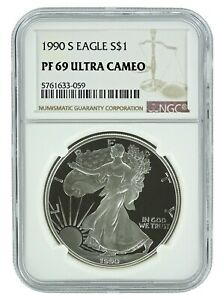 1990-S-1oz-Silver-Eagle-Proof-NGC-PF69-Ultra-Cameo-Brown-Label