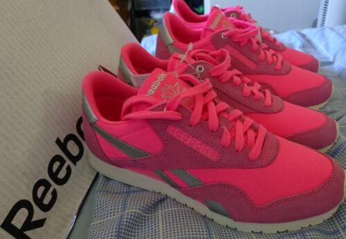 Uk New Silver Classic 4 Casual Ladies Pink Size Reebok Suede Neon Trainers 5 1qqfrzR