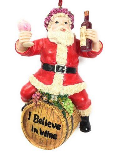 Wine Santa Sitting on Barrel Christmas Tree Ornament by Kurt Adler