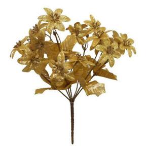 252 mini gold poinsettias 12 bushes of 21 blooms silk flowers image is loading 252 mini gold poinsettias 12 bushes of 21 mightylinksfo