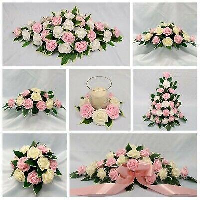 Baby Pink /& Mint Green Wedding Flower Top Table Pedestal Candle Ring Arrangement