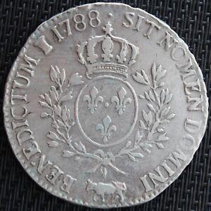 LOUIS-XVI-ECU-AUX-BRANCHES-D-039-OLIVIER-1788-PAU