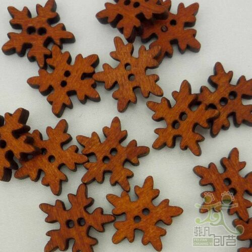 20/100pcs Brown Wood Buttons Christms Snowflake Lot 18mm Craf Sewing