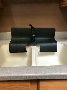 Details about Kitchen sink faucet splash guard. Black. Protects granite  sink edge from chips.