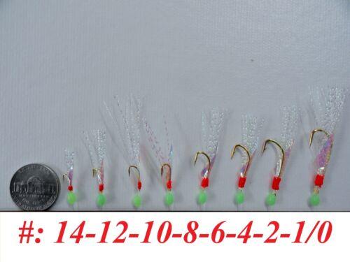 Sabiki Bait Rigs 6 Hooks Saltwater Fishing Lure Size:1//0,1,2,4,6,8,10,12,14-417
