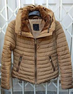 camel Precioso Excelente Zara de talla 8 color Xs de Abrigo chaqueta de en piel Anorak con cuello 4Zq4O8AaBw