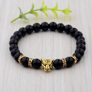 Copieux Hommes Argent Or Leopard Head Natural Agate Gemstone Handmade Bracelets Bijoux-afficher Le Titre D'origine