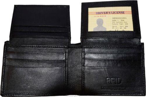 Men/'s wallet RFID Leather Bi-fold Wallet 11 Card 2 ID 2 Billfold  Black wallet.
