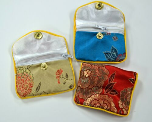 Silk Jewelry Chinese Pouch Bag Roll Assorted TEN DOZEN Zipper - 2 1/2 x 2
