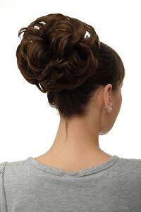 Postiche-Cheveux-Rose-Dutt-Chignon-Touffue-Volume-Tresse-Marron-Dore-Q840-10