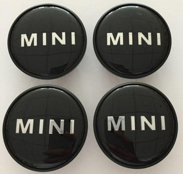 4 X MINI WHEEL CENTRE CAPS ALLOY HUB BADGE EMBLEM BLACK LOGO 54mm COOPER ONE