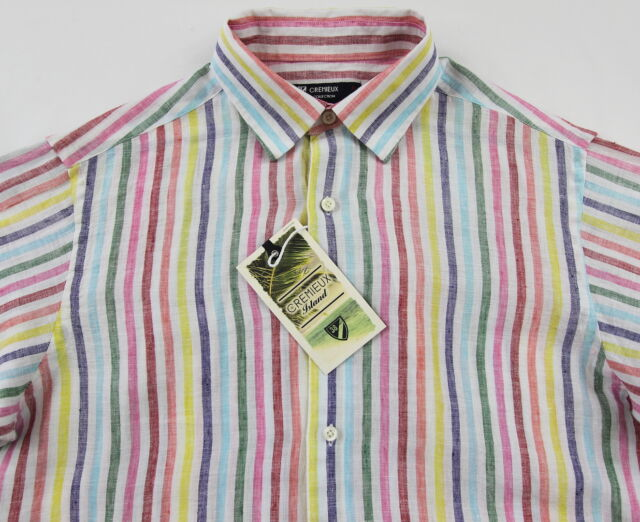 f13e87e79c2 Men's Daniel Cremieux White Colors Striped Linen Shirt Medium M