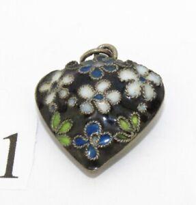 100% QualitäT Antiker Alter Herz Anhänger Mit Emaille Florales Muster Ø 21 Mm