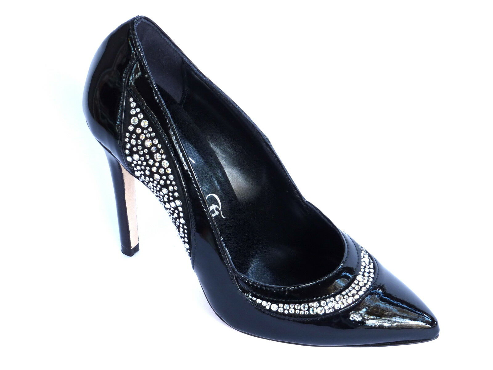 shoes DECOLLETTE women IN VERNICE black E SWAROVSKI ELEMENTS TACCO ALTO 39