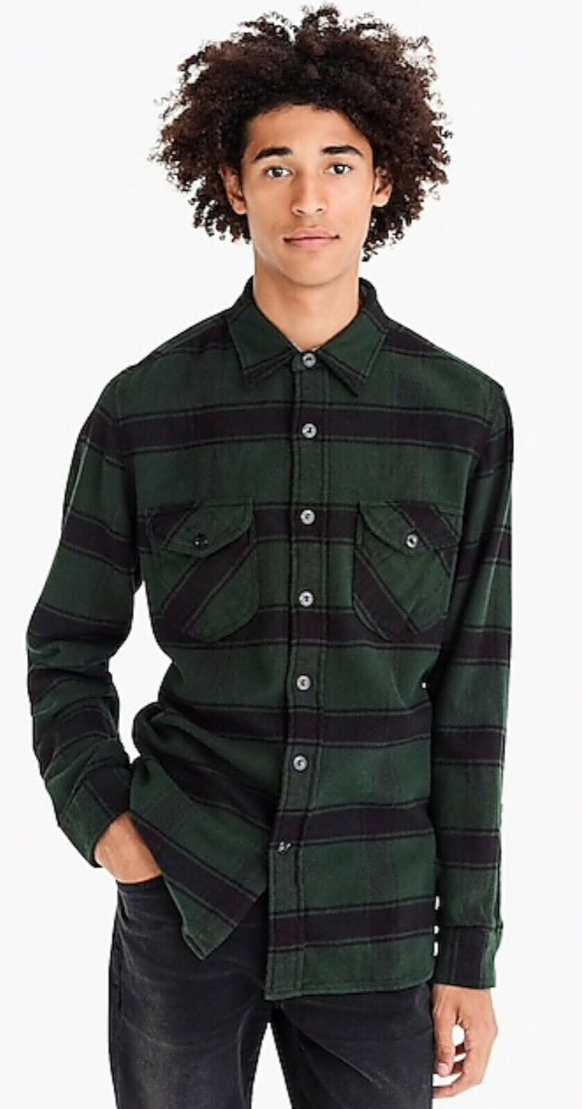 J CREW Wallace & Barnes heavyweight flannel shirt in stable plaid