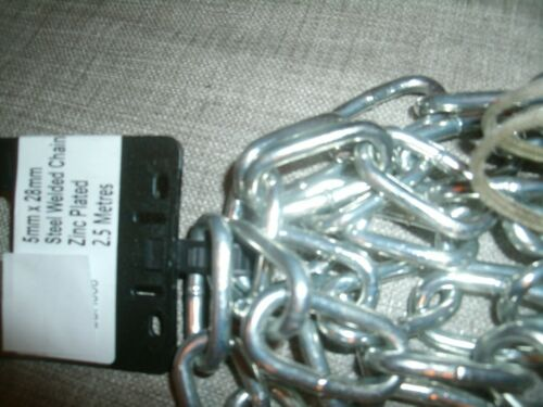 2.5 METERS BRIGHT STEEL WELDED CHAIN ZINC PLATED H//D LINKS 5 MM THICK 20X 40 MM