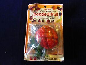 Vtg-Fibre-Craft-Beaded-Fruit-Kit-Pineapple-Old-Stock-SEALED-PKG-Pin-Sequin-A47
