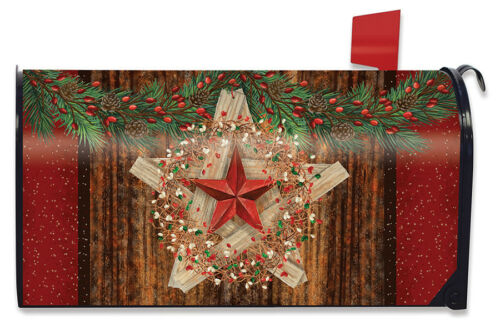 Holiday Barnstar Berries Magnetic Mailbox Cover Christmas Primitive Standard