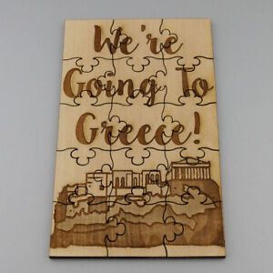 We-039-re-Going-to-Greece-15-Pc-Jigsaw-Puzzle-Engraved-Wood-Vacation-Trip-Surprise