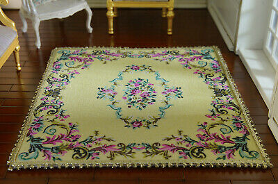 Beautiful Dollhouse 1//12 Scale French Swirls Floral Vintage Miniature Lace Rug