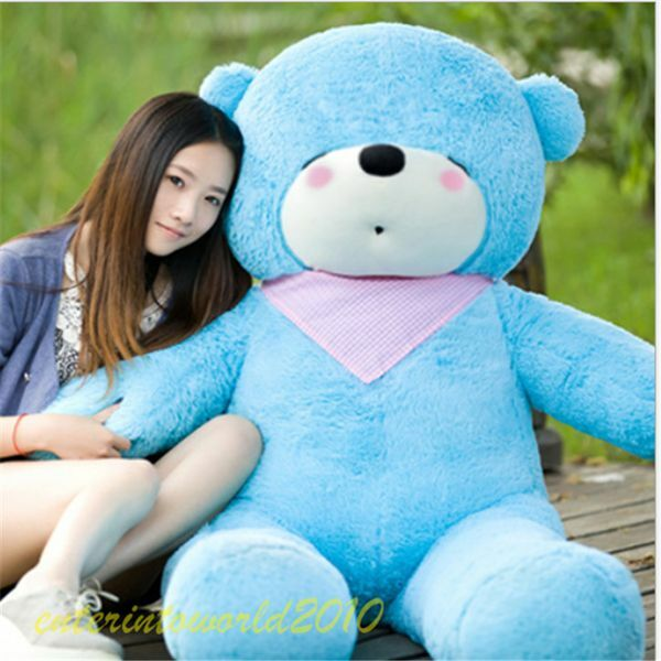 Birthday Gift  63in.Teddy Bear blu Giant Big Huge Plush Soft Toys Free Shipping
