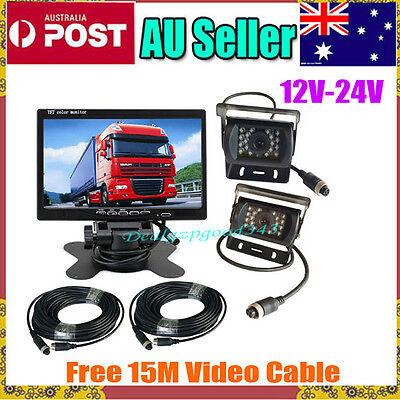 "4Pin Bus Truck Rear View Kit 7"" LCD Monitor + 2x CCD 18 IR Car Camera 12V-24V AU"