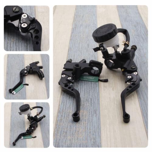 """Universal Black Motorcycle 7//8/""""Brake Clutch Levers Master Cylinder Reservoir Set"""