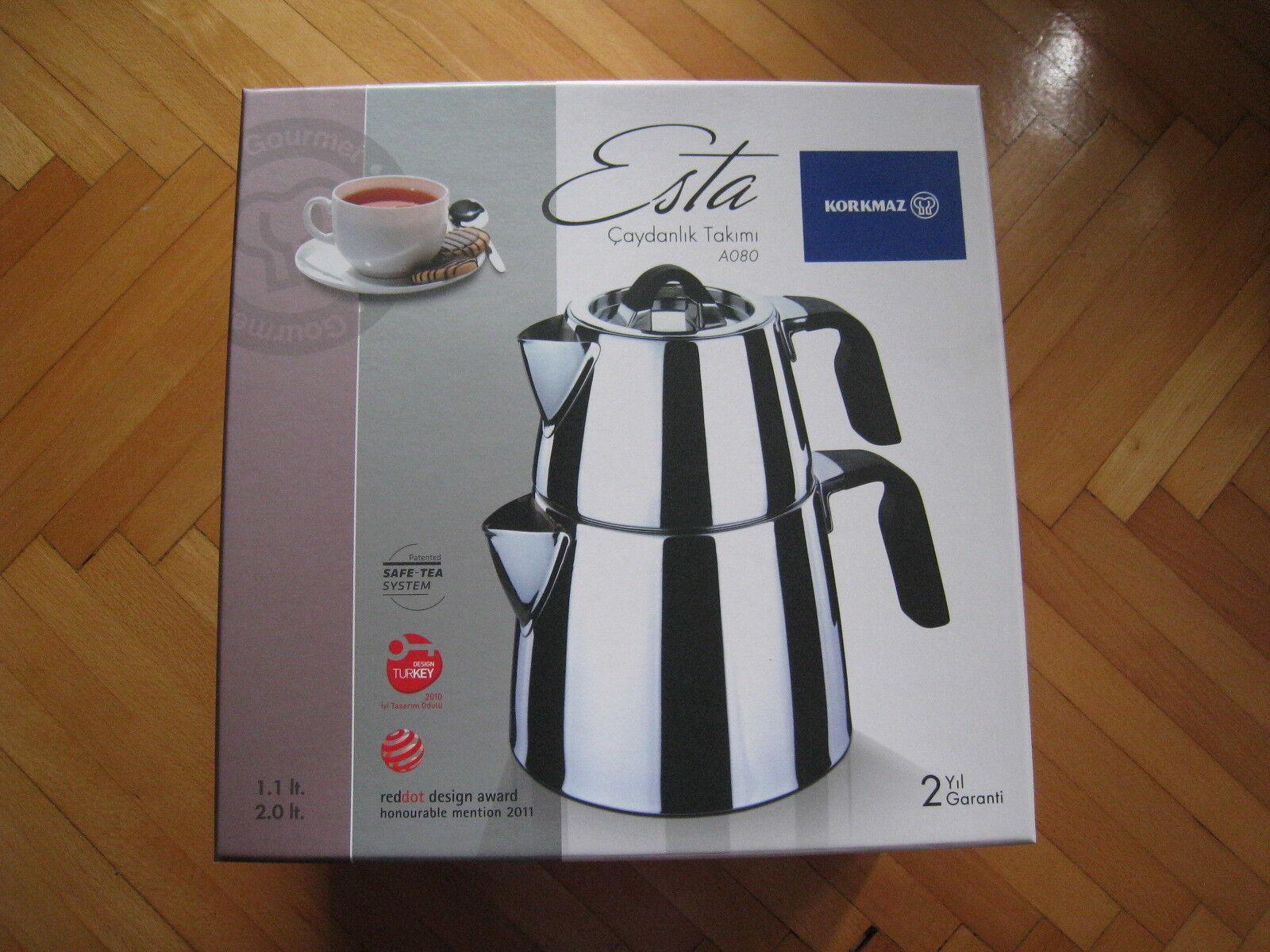 Turkish Tea Pot Set Korkmaz A080 esta en acier inoxydable Tea Pot 3.1 LT Safe Tea