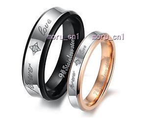 316L Steel Forever Love Promise Wedding Bands Titanium Couple Ring Set Valentine